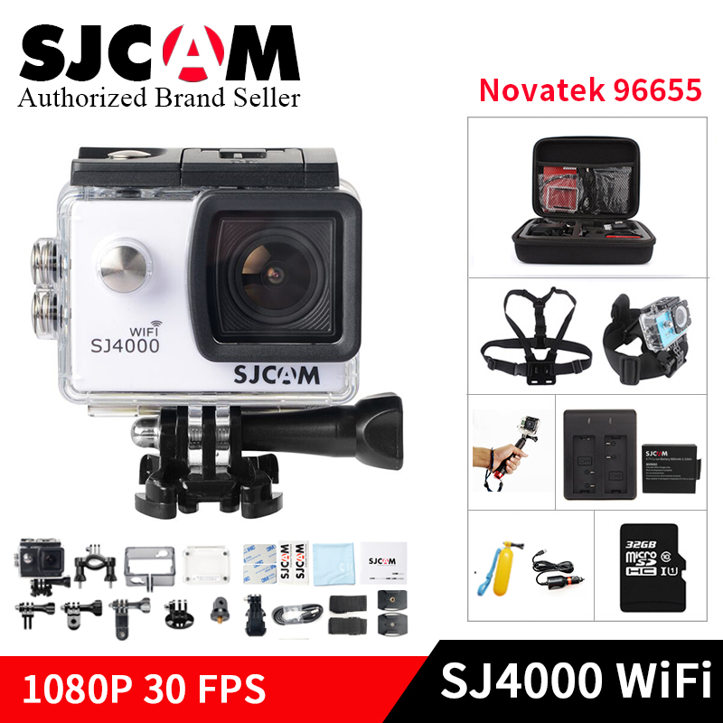 цена на Original SJCAM SJ4000 WiFi Action Camera 2.0 inch Sports DV 1080P HD Diving 30M Waterproof mini Camcorder go extreme pro sj cam
