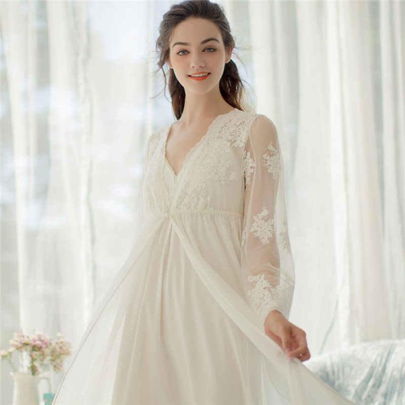 0ef95fc8f07 ... Embroidery Robe Gown Set Autumn Women Sleepwear Set Peignoir Sets Lace  Bathrobe Long Sleeve Women Robe ...
