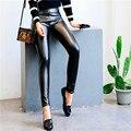 Spring Summer 2016 Fashion High waist leggings female PU Faux Leather Leggings Thick Soft Slim Pants Plus Size 292