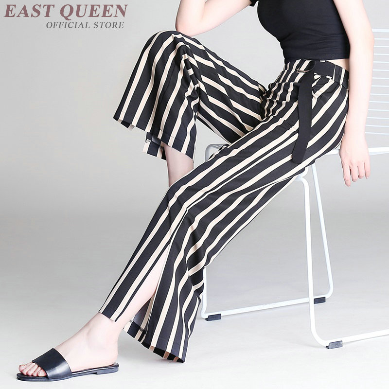 Open side striped Business office Palazzo culotttes femme   wide     leg     pants   women female ladies elegant trousers DD1056 Y