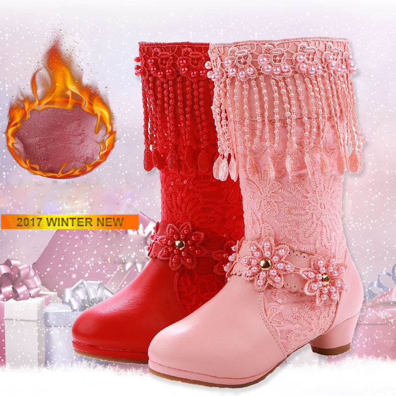 2017 Winter New Kids Girls High-heel Leather Boots Party Princess Shoes Tassel Plush Thicken Warm Snow Boots