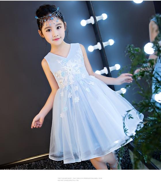 cf7834b099 Elegancki kwiat dziewczyny sukienki na wesele dziecięca sukienka na konkurs  piękności pierwsza komunia sukienki dla dziewczynek