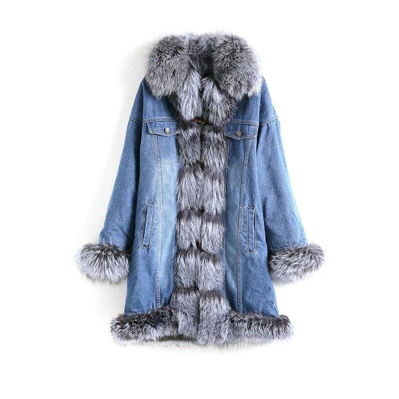 À color Fourrure Parkas Outwear 2018 Manteau 2 Capuchon Fox Silver Veste Réel Col De Denim Épais color Hiver 3 Color Pelliccia 1 Femmes wqqpO6Hx