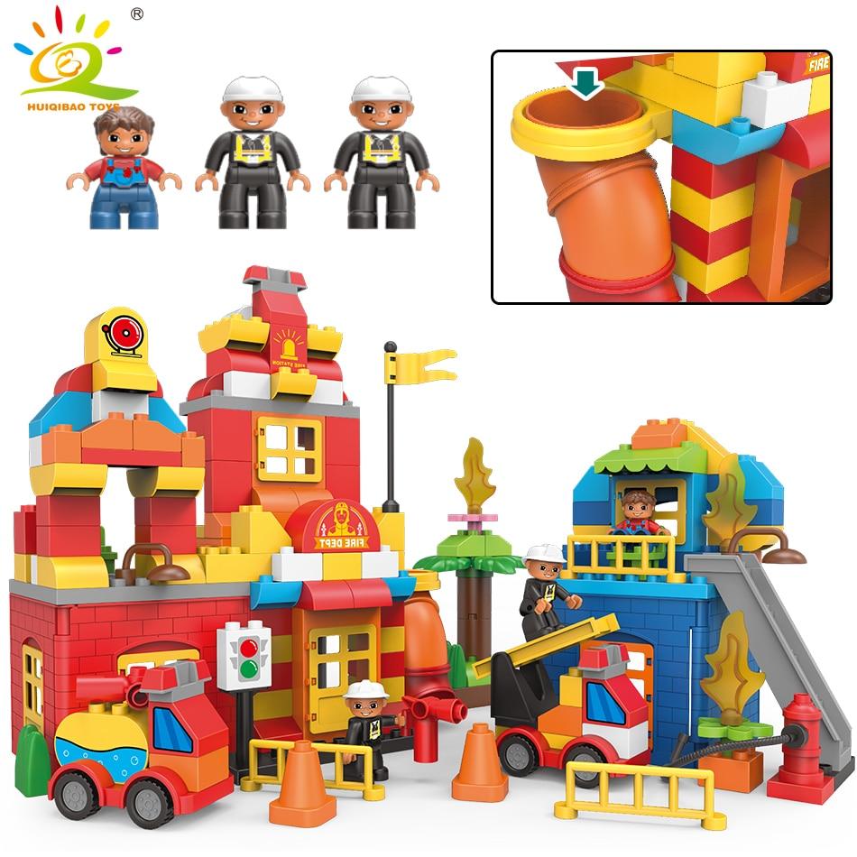 HUIQIBAO jouets 181 pièces pompiers secours de grande taille blocs de construction pour enfants Duploed ville camion pompiers Legorreta briques