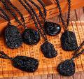 Панк-стиль личности natural black obsidian Будда кулон ожерелье с цепи шарика для мужчин мужская мода ювелирные изделия из обсидиана