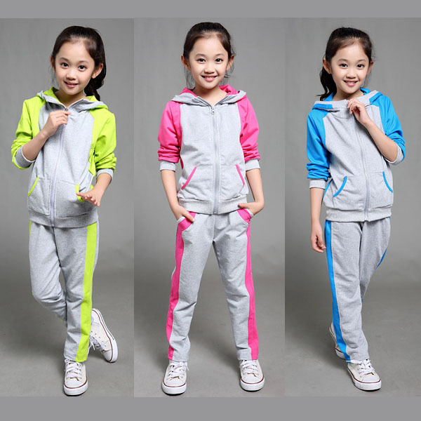 d114f2561 2-12 Years teenager girls tracksuit jogging clothing hooded jacket and pants  2 pieces patchwork children sport wear