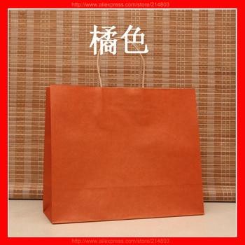 (100pcs/lot) size W32xH26xD12cm Wholesale kraft paper bag  with brand logo custom