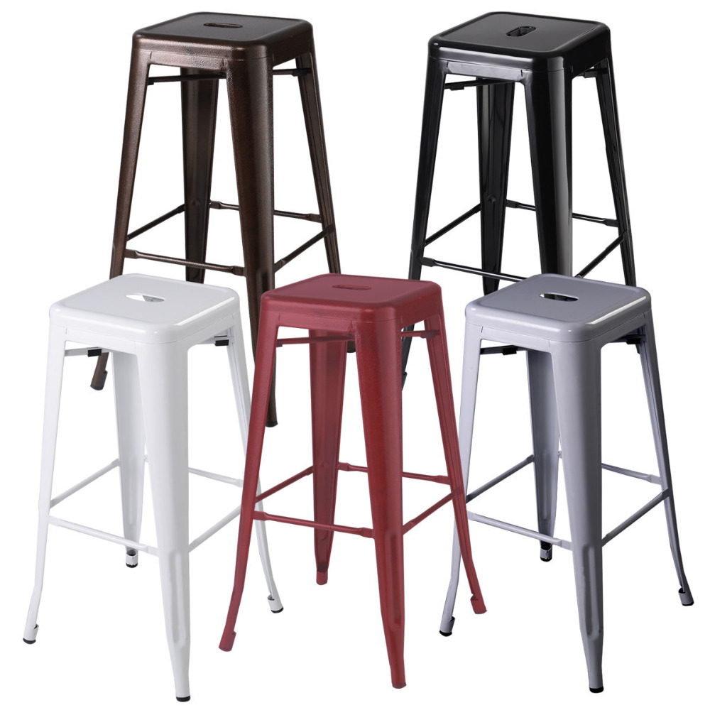 Set Of 2 Metal Steel Bar Stools Vintage Antique Style