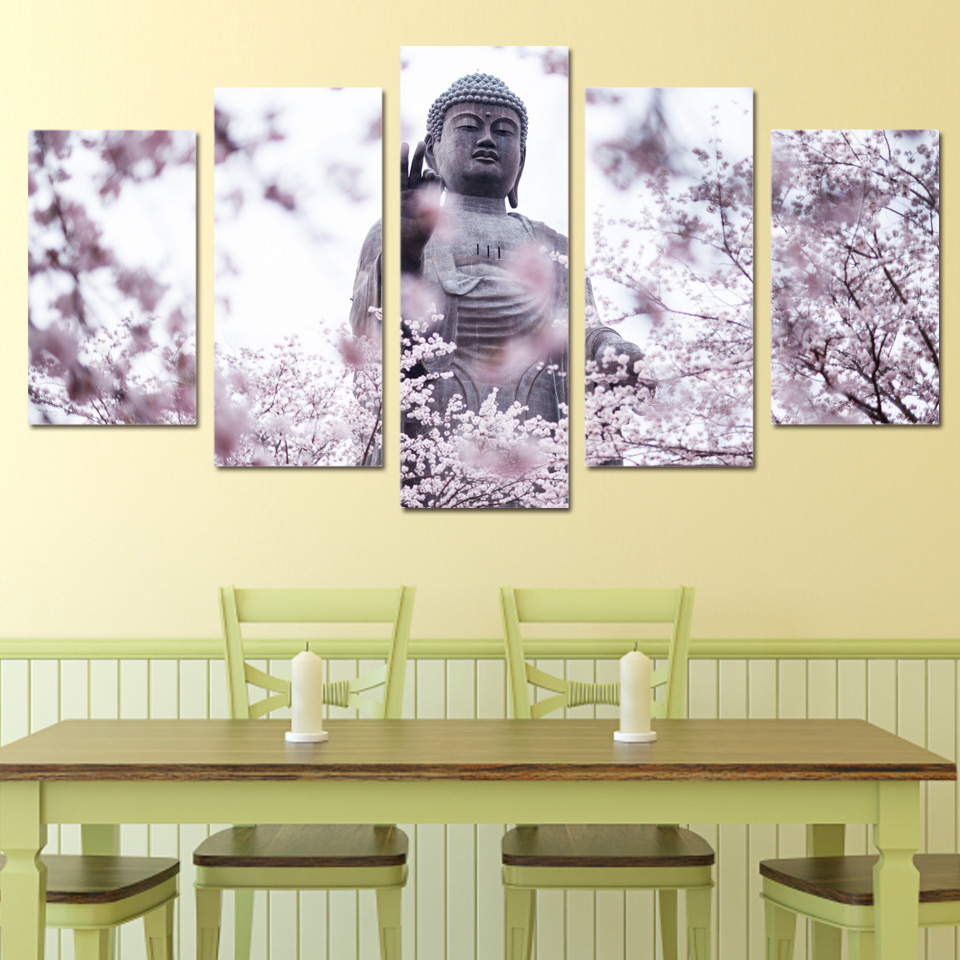 Leinwandbild Buddha Painting Wall Art Pictures Canvas Poster Frame 5 Panel Buddha Statue Cherry Blossoms Flower Landscape Home Decor Hd Print Pengda