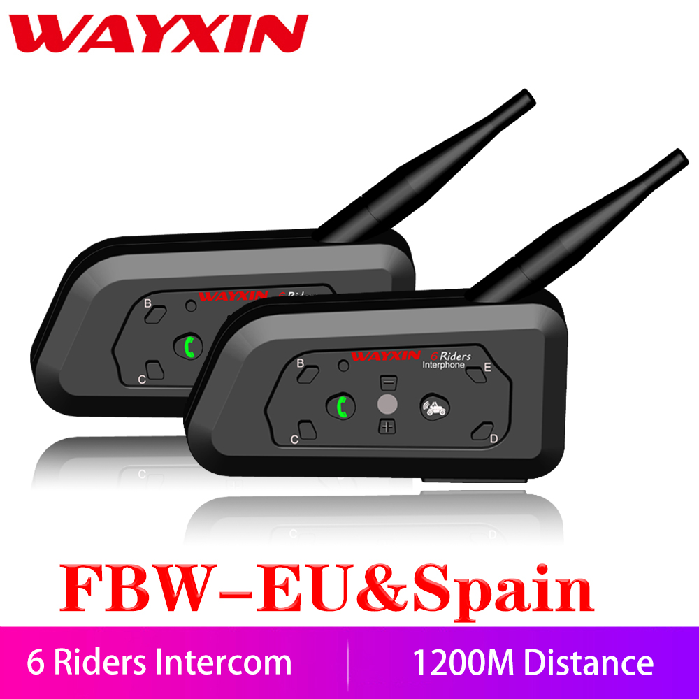 WAYXIN Motorcycle Bluetooth Intercom 2 Pcs Helmet Intercom Upto 6 Riders 1200M  Wireless Waterproof Interphone Headsets  R6(China)
