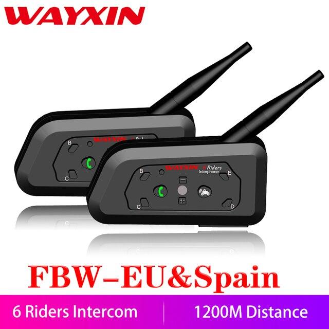 WAYXIN 2 Pcs Capacete Da Motocicleta Do Bluetooth Interfone Interfone Até 6 R6 Pilotos 1200 M Interphone Headsets Sem Fio À Prova D' Água