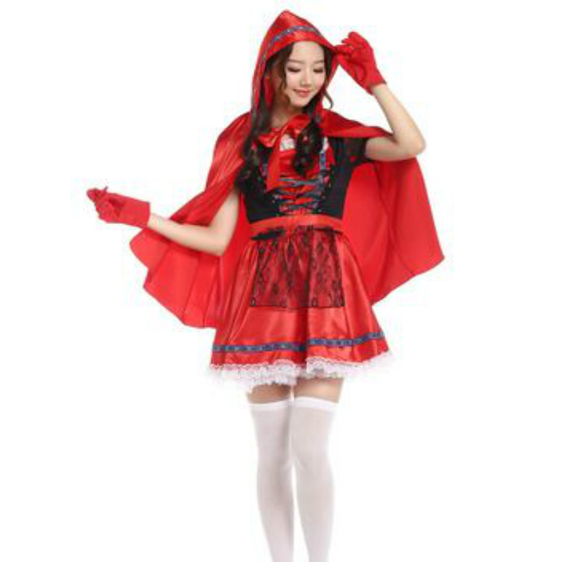 2018 New Sexy Cardinal Little Red Riding Hood cosplay Dress Sexy Small RedCap Party clothing Halloween Costumes for Women