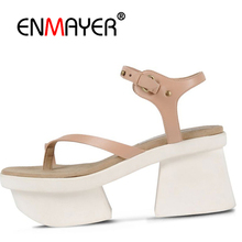 Купить с кэшбэком ENMAYER Size 34-39 Women open Toe Sandals Thick High Heels Dress High heels Shoes Women Buckle sandals Office Daily shoes CR830