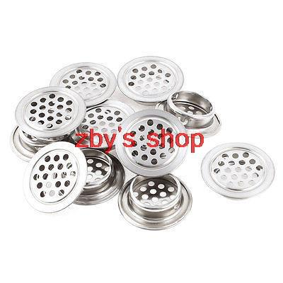 12 X Silver Tone Stainless Steel Cabinet Air Vent Louver Mesh Hole 25mm 1inch