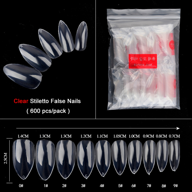 TKGOES 600pcs Transparent Oval Stiletto Pointy Full False Nail Tips Almond Shape Acrylic Artificial French Nail Art Salon Tips