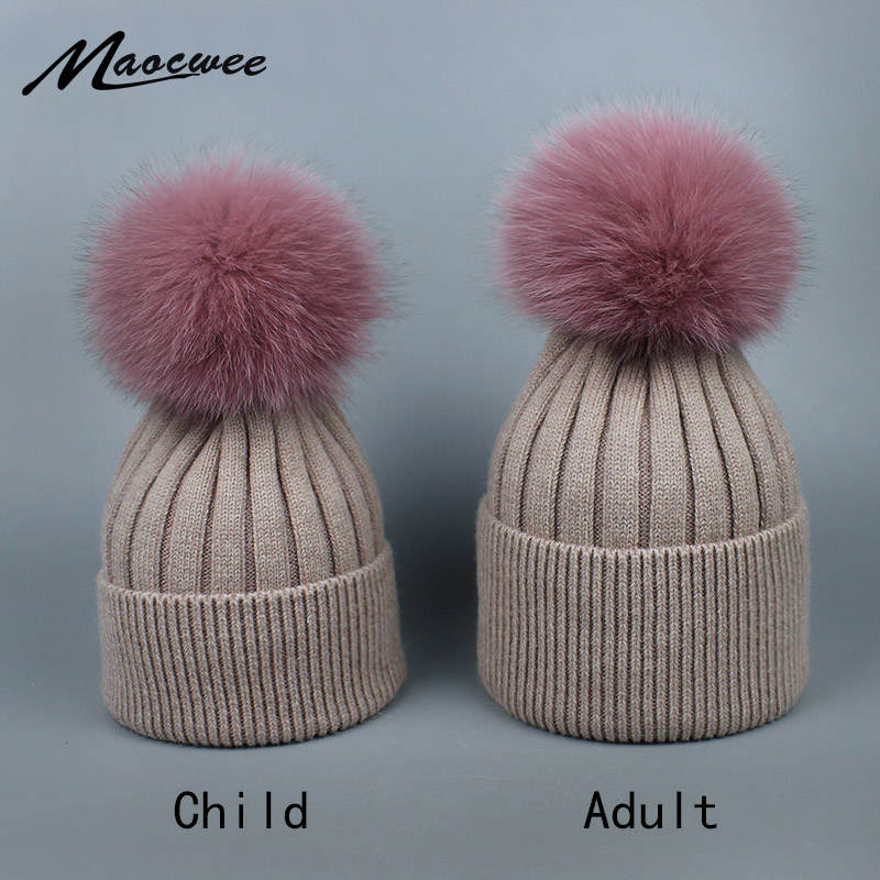 Adults and Children Wool Real Raccoon Fox Fur Pom Poms Winter Woman Hats High Quality Knitted Vogue Warm Casual   Skullies     Beanies