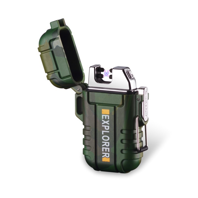 Explorador uso exterior impermeable a prueba de viento doble arco pulso Plasma cigarrillo fumar encendedor USB carga eléctrica Metal encendedor