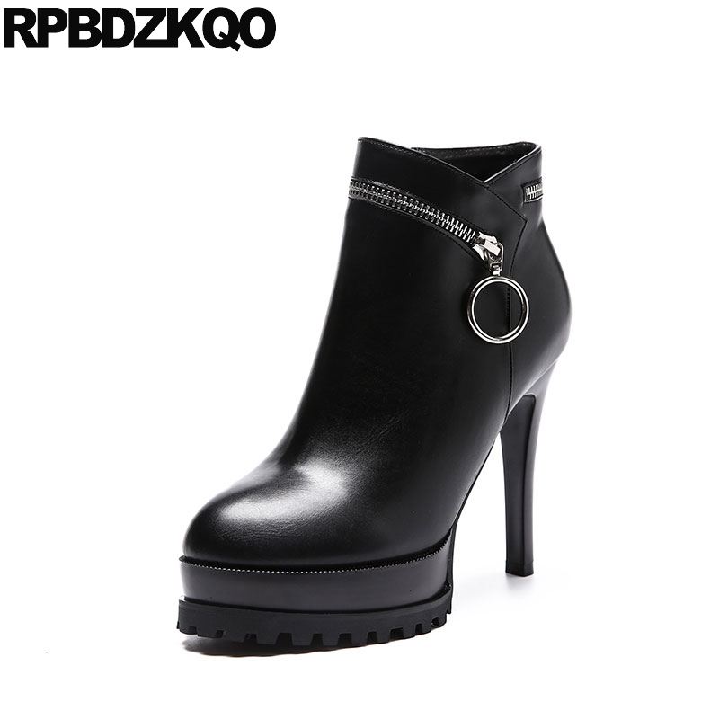 Fur Short Side Zip Boots Round Toe High Heel Stiletto Black Sexy Shoes Waterproof Ladies Ankle Platform Zipper Fashion Fetish booties warm shoes winter round toe side zip boots brown real fur flat casual ankle female new ladies 2017 chinese fashion short