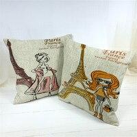 45*45cm Decorative Cartoon Girls And Paris Eiffel Tower Printed High Quality Throw Cushion Cover Pillow Case Home Decor Gifts