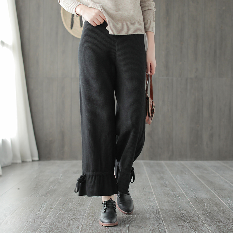 Autumn Winter Pants Retro Women Knitting Slim Type Trousers Elastic -4327