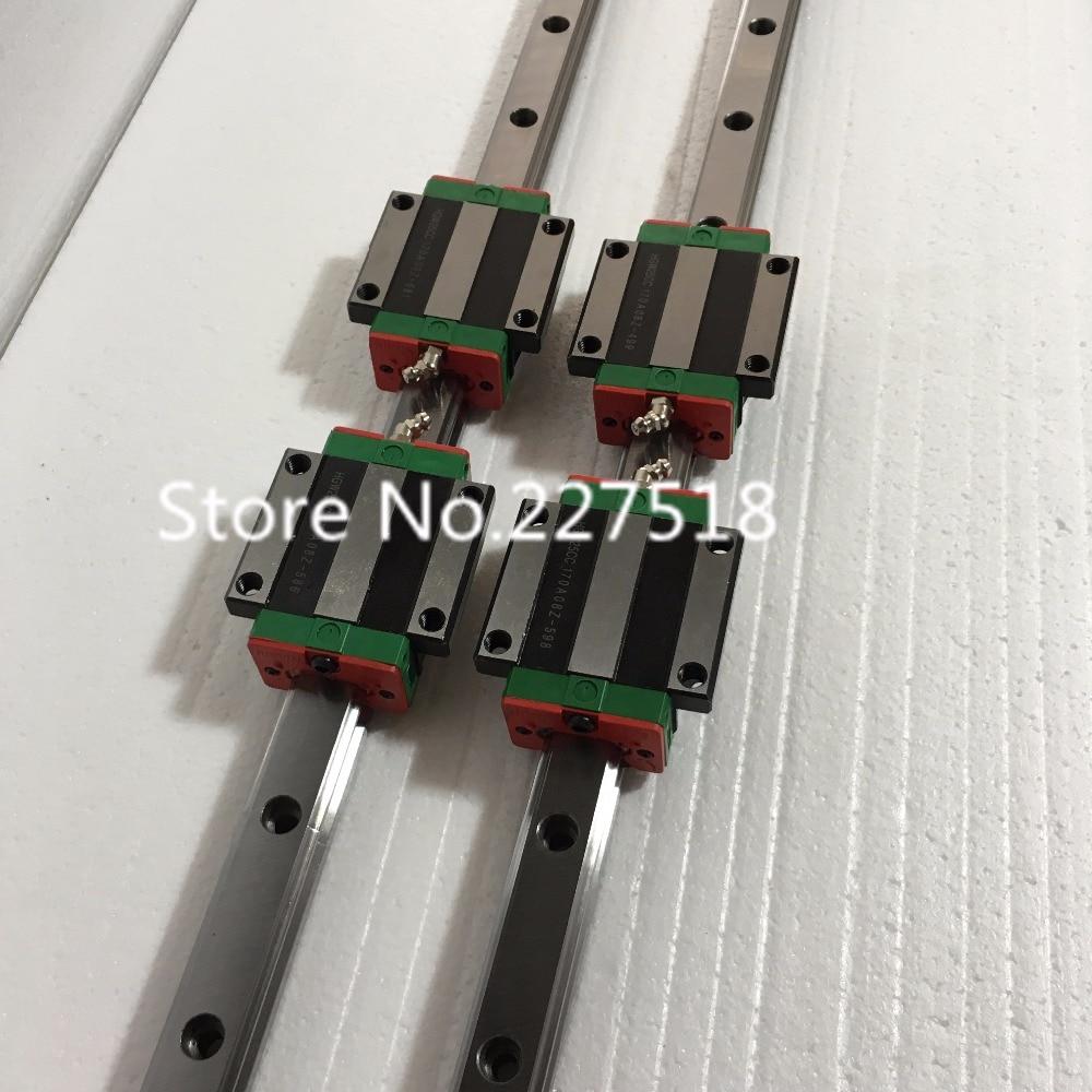 25mm Type 2pcs  HGR25 Linear Guide Rail L1000mm rail + 4pcs carriage Block HGW25CC blocks for cnc router tbi 2pcs trh25 1500mm linear guide rail 4pcs trh25fe linear block for cnc