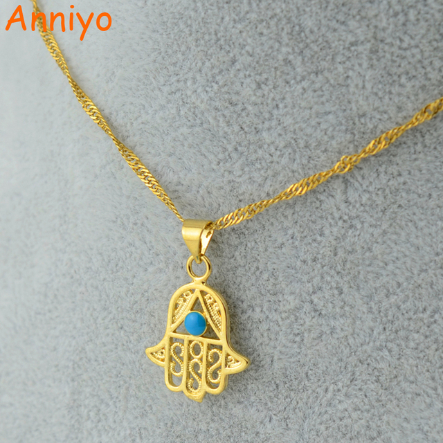 Anniyo wholesale hamsa hand pendant necklaces blue eyegold color anniyo wholesale hamsa hand pendant necklaces blue eyegold color jewelry women girlnazar mozeypictures Image collections