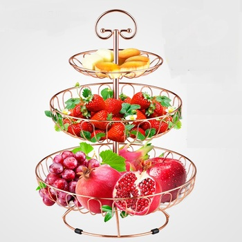 Fruit Disk Fruit Basket Creative Home Multilayer European Modern Living Tea Table Simple Snack Three-Layer ZP12171506