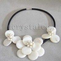 Güzel Beyaz Kabuk Inci Çiçek Kolye Deri Yuvarlak düz Yaka Moda Kolye Önlüğü