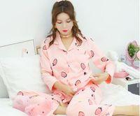 Autumn And Spring Korean Cardigan Pure Cotton Full Sleeve Women Pajama Set Sweet Cute Cartoon Leisure Keep Warm Homewear Suits