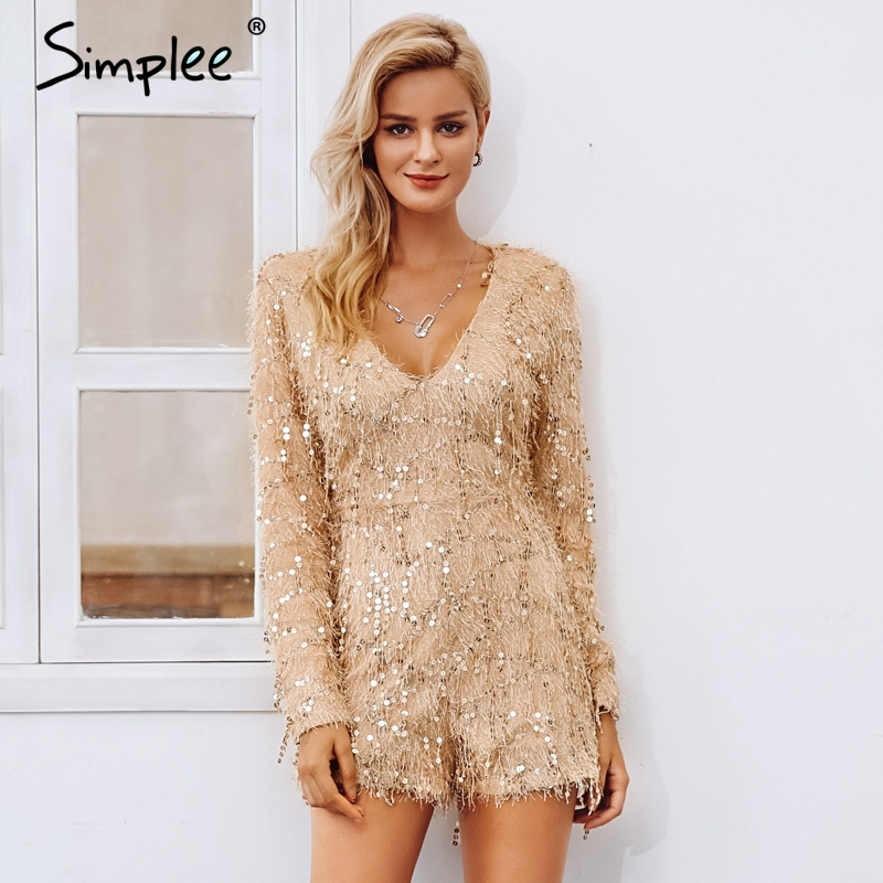 Simplee Champagne Sequin Tassel Jumpsuit Women Sexy V Neck Long Sleeve Jumpsuits Rompers 2018 Autumn Evening Party Overalls
