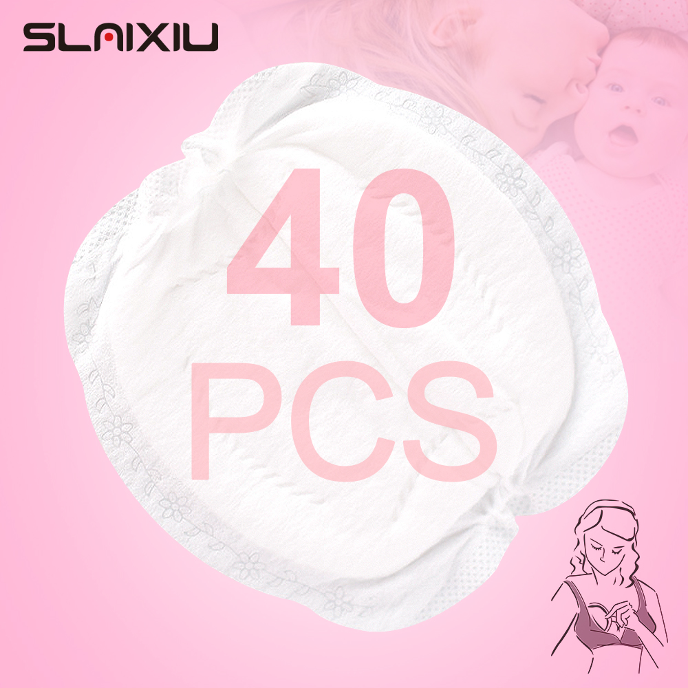SLAIXIU 40 Pieces Breast Pads Nursing Pads Disposable Breast Pads Breastfeeding Accessories Ultra-thin Dry Soft
