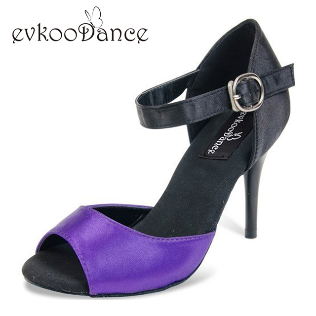 Size US 4-12 Purple With Black Dancing Shoes Heel Height 8.5cm Comfortable  Women Latin Satin Salsa Dance Shoes NL114 0bc346802f23