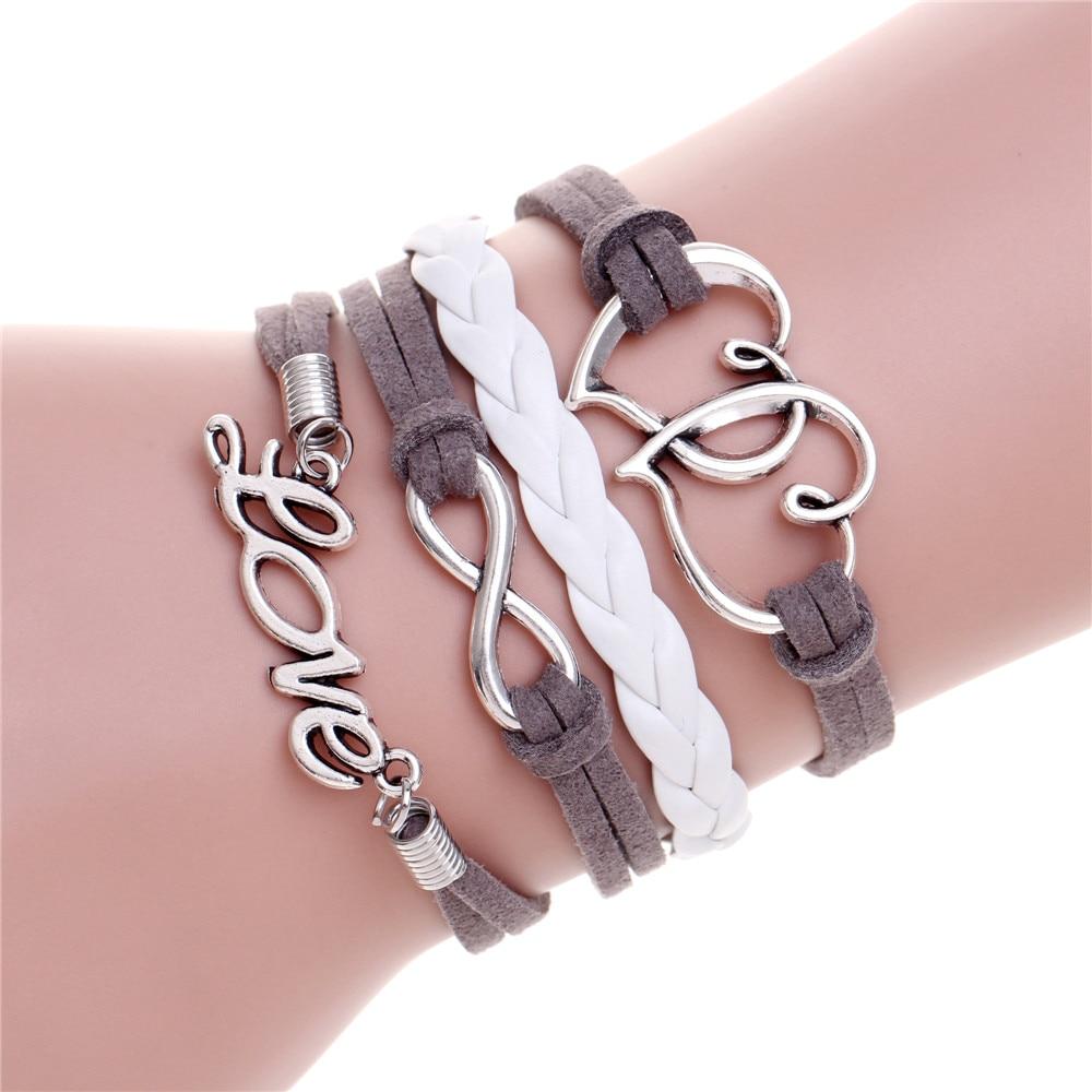 Aliexpress : Buy Vintage Double Heart Best Friends Charm Leather  Bracelet Love Owl Anchor Wings Braided Bracelet Wholesale Wrap Bracelets  Jewelry From