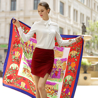 Twill Fashion Large Silk Square Scarf For Woman Classic Royal Horse Racing Foulard Hand Rolled NecKerchief