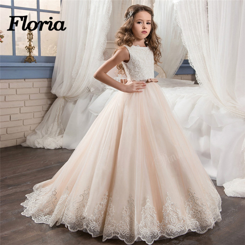 Sequins Flower Girl Dress For Weddings Lace Sleeveless Girl Gowns With Bow Champagne First Communion Dresses 2018 Vestido Longo