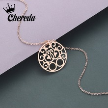 Chereda Minimalist Round Hollow Geometric Necklace for Women Simple Design Stainless Steel Chain Pendant Friend Jewelry