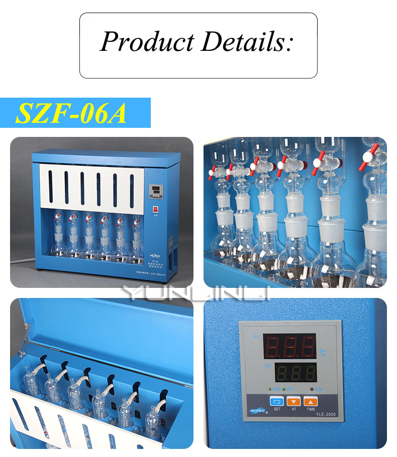 Digital Crude Fat Analyzer Meter Tester For Grain, Food, Feed, Fuel and Various Oil Products Test 6 Samples At Same Time SZF 06A