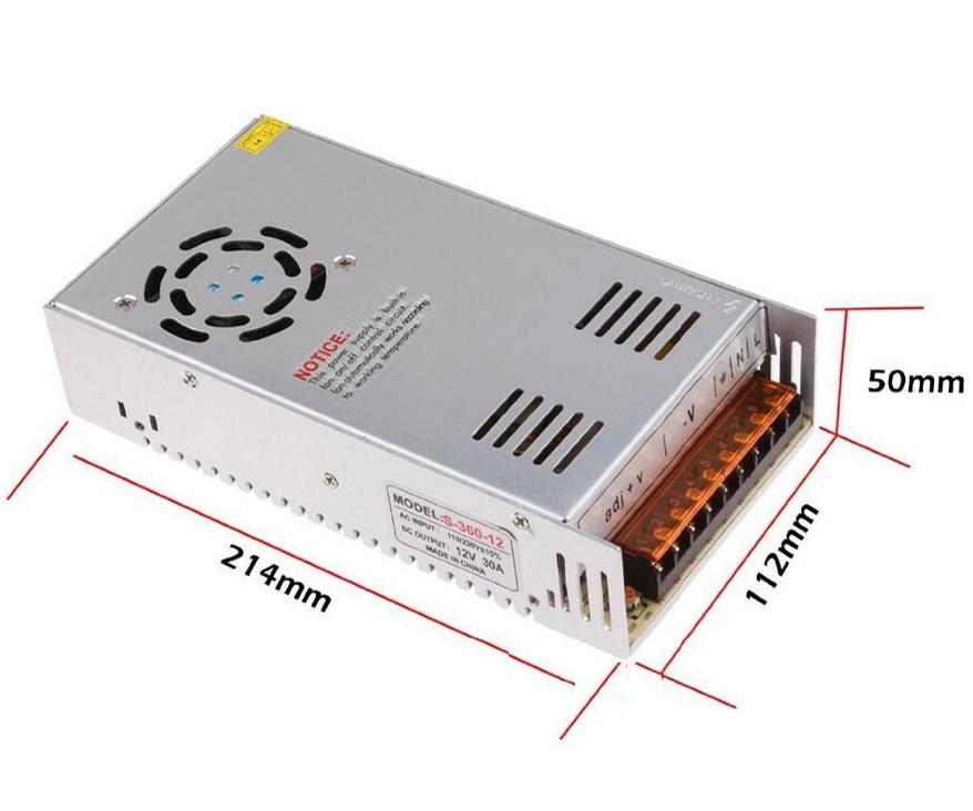 AC 110/220V DC 12V 30A 360W Switching Power Supply Converter for LED Flexable Strip Light 5pcs/lot