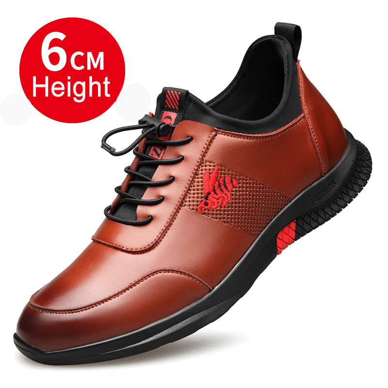 2019 Fashion Spring Man Quality Leather Shoes British Casual Shoes 6CM Height Increasing Quality Youth Man Leisure Leather Shoes