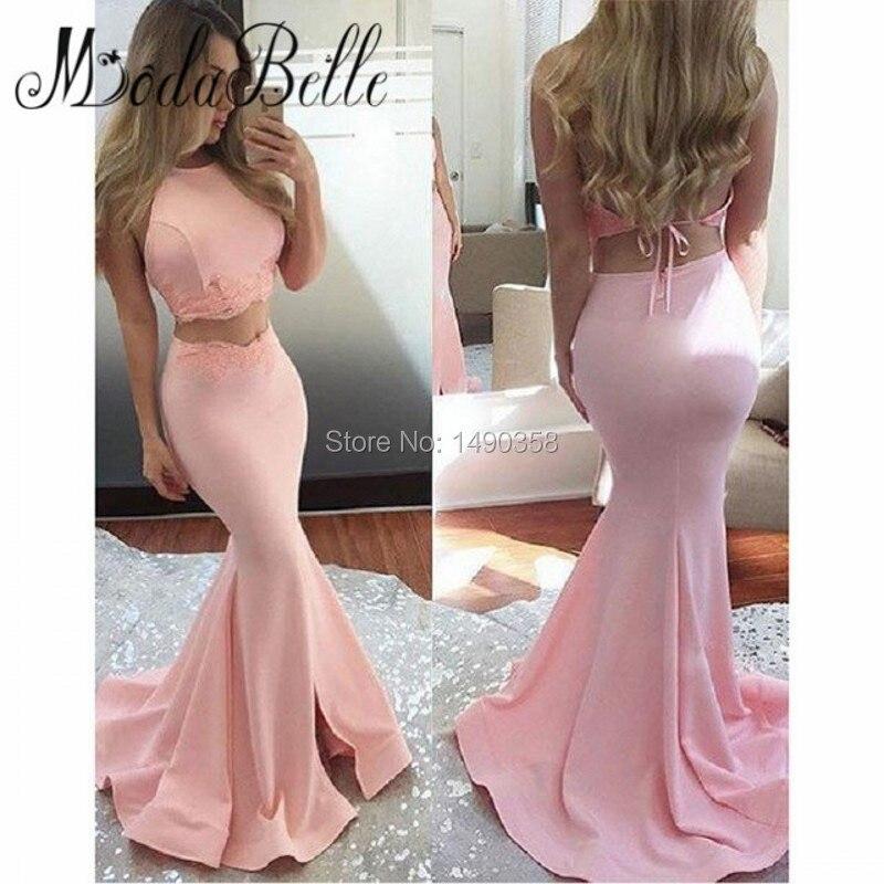 Vintage backless largo de dos piezas rosa sirena vestidos de baile de hendidura
