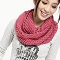 Мода Зима Женщины Теплый Трикотажные Высокая Шея Сплошной Цвет Круг Шерсть Клобук Snood Длинный Кольцо Шарф Платок шелковый шарф Femme