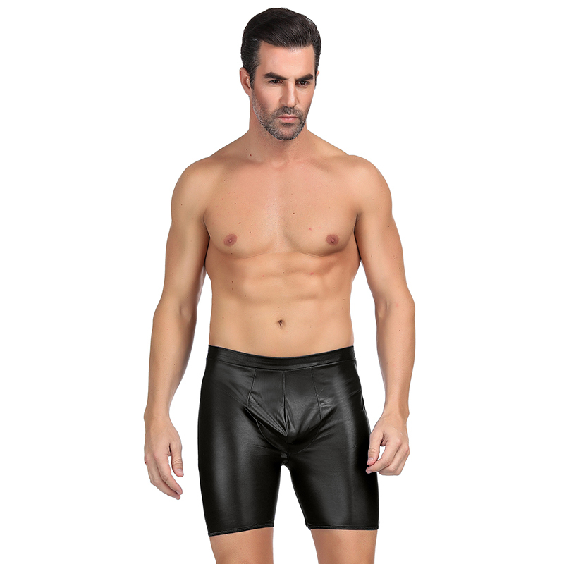 <font><b>Boxer</b></font> <font><b>Homme</b></font> <font><b>Sexy</b></font> <font><b>Gay</b></font> With Exposed Hips High Waist Solid Faux Leather Boxershorts Men Underwear Plus Size Cuecas <font><b>Boxer</b></font> MPS064 image