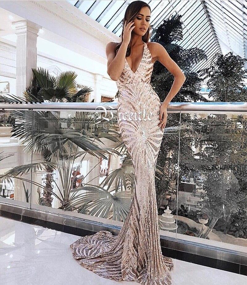 En Party Retour Slip V Conception Longue Sexy Croix Vicente Élégant or Chaude Celebrity Robe Col Maxi 2019 Gros Noir Paillettes New 0wPN8kXnO
