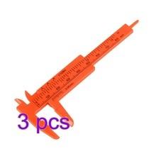 3Pcs Plastic Measuring Tools Mini Vernier Calipers 1 mm/Ruler Micrometer Gauge 80mm Length