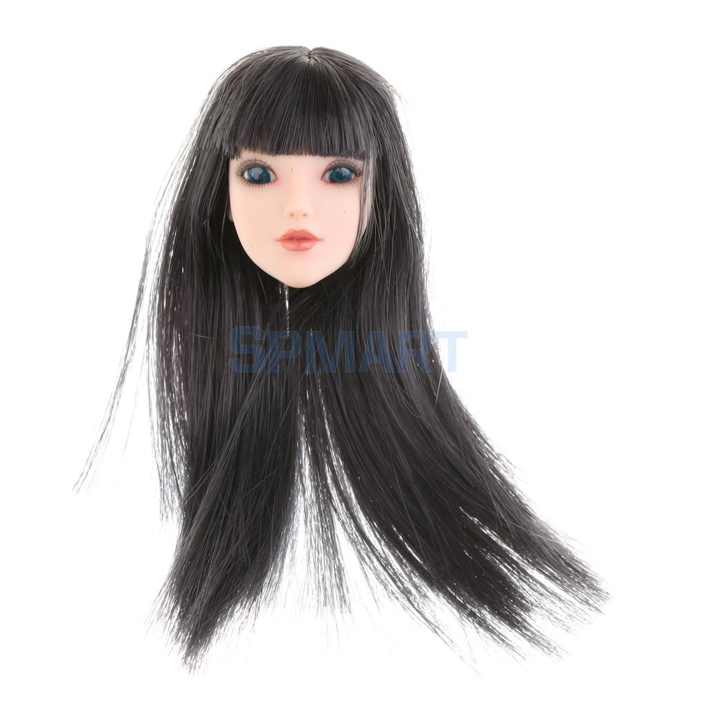 1/6 Scale Beautiful Girl Head Sculpt Black Neat Bang Hair Head Model Toy for 12'' Action Figure Female Body Hot Toys Accessories 2015 hot dam toys armed police military equipment set include head sculpt and body christmas gift collectibles model toys