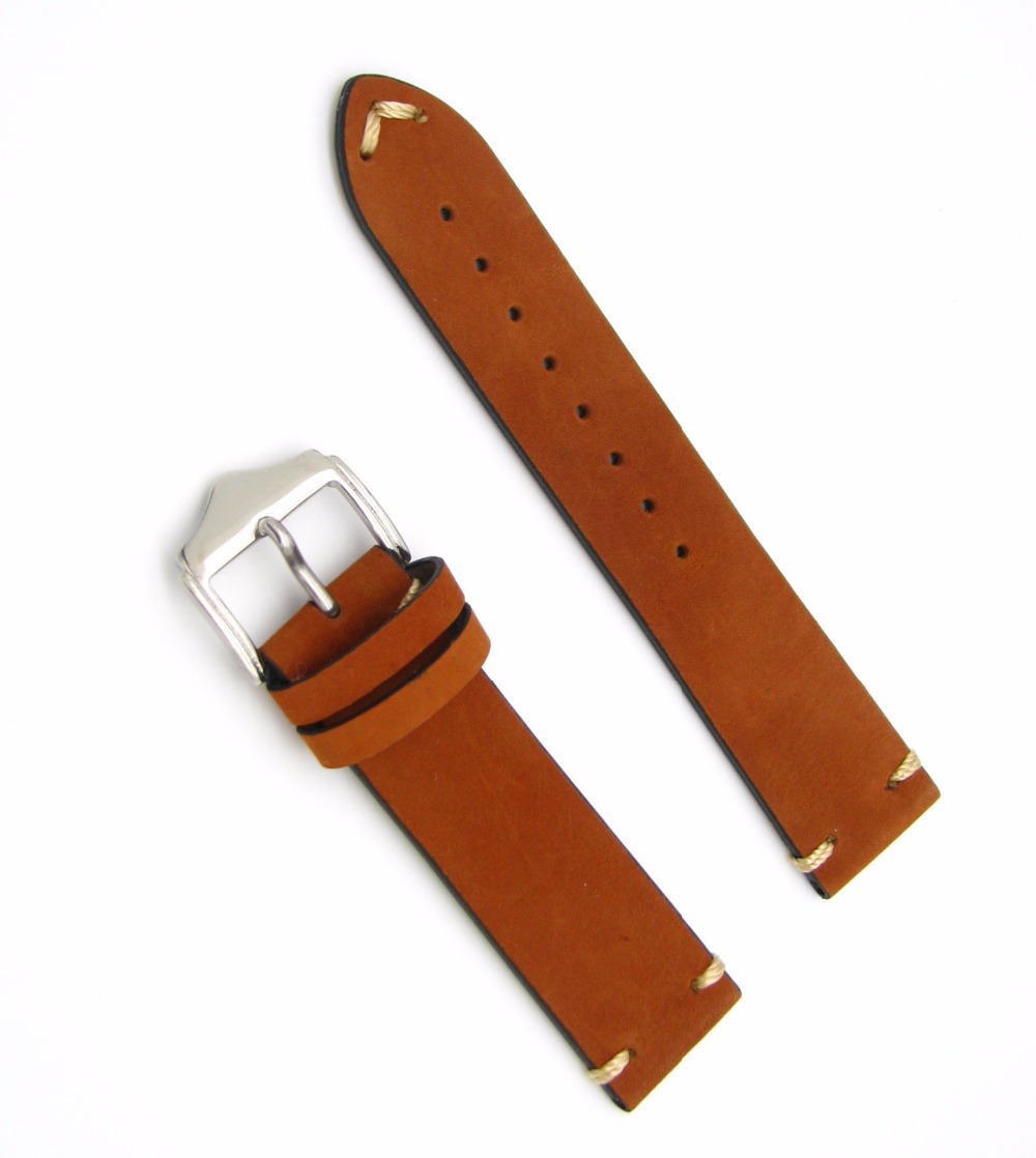 20 22mm Hot New Men Women Genuine Cowhide Suede Leather Handmade Stitched Brown Watch Band Strap Belt Silver Polished Pin Buckle cowhide leather belt watch men and women watch accessories butterfly buckle strap watch band waterproof