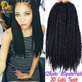 3D Cubic Twist Crochet Braids Hair Extensions Ombre Synthetic Braiding Hair Senegalese Twist Box Braids Hair Havana Mambo Twist