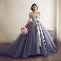 Bohemian 2017 Puffy Rigid Tulle Skirt For Bridal To Wedding With Train Ribbon Sash Bow Floor Length Tutu Skirt Tulle Ball Gowns