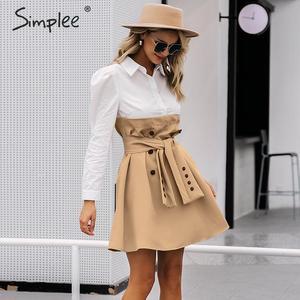 Image 4 - Simplee Patchwork puff sleeve shirt dress women Elegant button sash belt office ladies dresses Autumn ladies khaki work dress