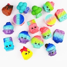 лучшая цена 2pcs/lot mini squishy slow rising jumbo lanyard Squishy Slow Rising Rainbow cake squeeze lanyard for keys groot phone strap